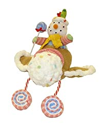 "11"" Glittery Pastel Plush Candy Christmas Snowman On Airplane"