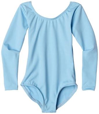 Capezio Little Girls' Team Basics Long Sleeve Leotard,Light Blue,S (4-6)