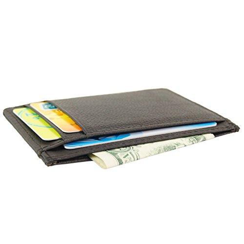Carta tasca anteriore in vera pelle titolare caso della carta di credito 7 slot di Portafoglio (marrone)