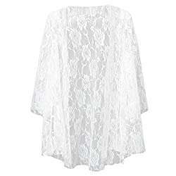 Imported Women Hollow Lace Cardigan Shirt Blouse Tops Fanon for Summer Long Blouse S