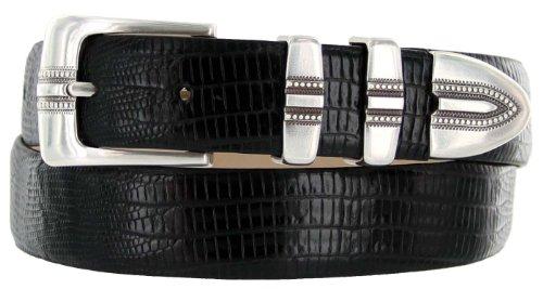 "Kaymen Italian Calfskin Leather Designer Dress Golf Belts for Men 1-1/8"" Wide (36, Lizard Black)"