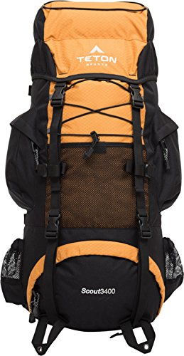 TETON Sports Scout 3400 Internal Frame Backpack; Great Backpacking Gear or Pack for Camping or Hiking; Mecca Orange