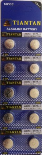 10 Pcs Ag13 Card Blister 1.5 V Alkaline Battery Compatible With G13 Ag13 357 A76 Lr44 Sr44 76A G13A Lr1154 L1154 Rpx675 D76A V13Ga Px76A Gpa76 1128Mp 1166A S76