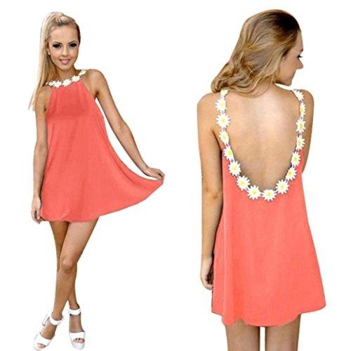 GBSELL New Women Summer Sunflower Backless Beach Dress Mini Sundress