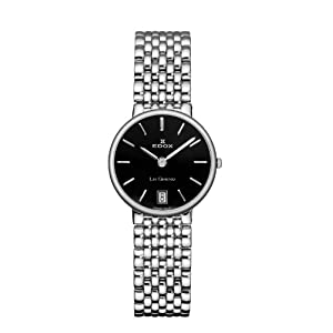 Edox Women's 26016 3P NIN Les Genevez Black Dial Stainless-Steel Watch