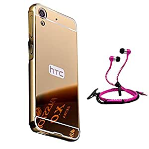 Droit Luxury Metal Bumper + Acrylic Mirror Back Cover Case For + HTC 626 Stylish Zipper Handfree and Good QualitySound by Droit Store.