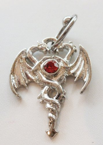 Double Dragon w/ Red CZ Captive Bead Ring (CBR) 316l Surgical Steel Body Jewelry