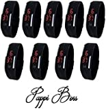 Pappi Boss Imported Unisex BLACK Set of 9 Digital Rubber Jelly Slim Silicone Sports Led Smart Band Watch for Boys, Girls, Men, Women, Kids - SALE OFFER