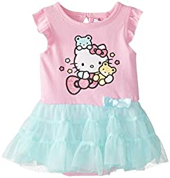Hello Kitty Baby-Girls Newborn Skirted Creeper with Bow, Bubble Gum, 9 Months
