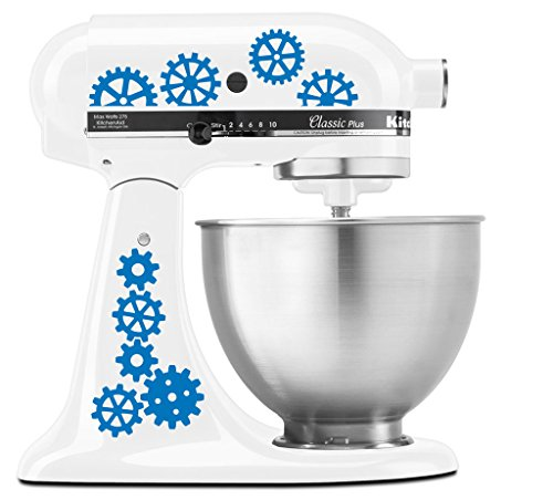 Steampunk Gear Art Pattern - Vinyl Decal Set for Kitchen Mixers - Sky Blue (Sky Blue Mixer compare prices)