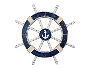 Hampton Nautical  Rustic Dark Blue Decorative Ship Wheel with Anchor 18