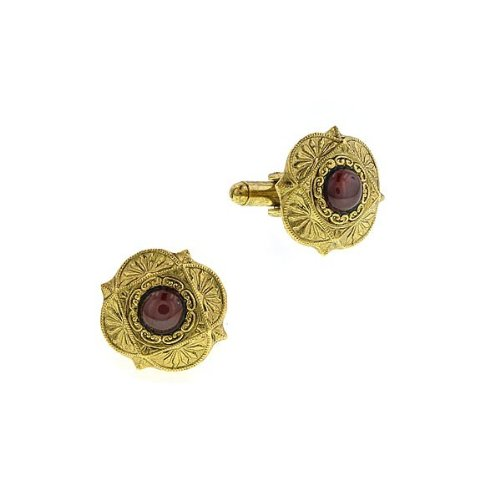 1928 Jewelry Company Men Jewelry Scalloped Gold Tone Ruby Red Cufflinks Cuff Links