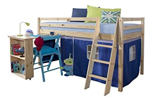 Cabin Bed & Mattress with Desk in Pine BLUE Tent + mattress
