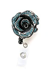 SIZZLE CITY New Custom Bling Rhinestone Badge Pull Reels Retractable ID Badge Holders (Blue Sparkly Rose)