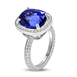 8.58 Ct Blue Topaz & Diamond Cocktail Ring in Platinum