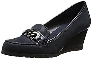 AK Anne Klein Women's Keepitup Leather Wedge Pump, Navy, 5 M US