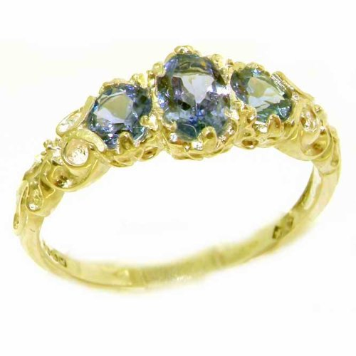 Ladies Solid Yellow Gold Natural Tanzanite English Victorian Trilogy Ring - Size 8.5 - Finger Sizes 5 to 12 Available