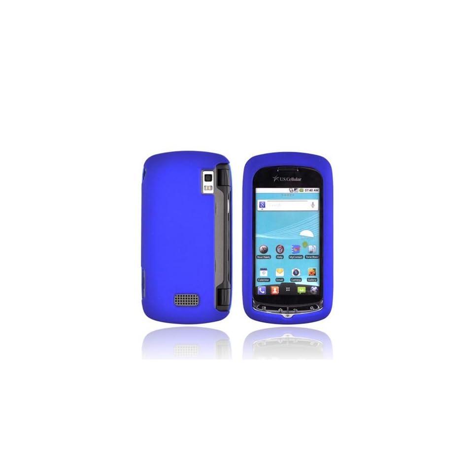 Blue Rubberized Hard Plastic Case Cover For LG Genesis VS760