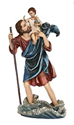 10'' Religious Inspiration- Saint Christopher Figurine- Colored by PTC