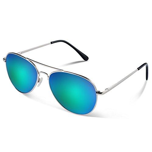 Duduma Prämie Voll Mirrored Pilotenbrille Flieger Sonnenbrille UV400 Schutz Optimal Entwurf Herren und Frauen Aviator Sonnenbrillen (Silberrahmen mit Grün Blau Spiegellinse)