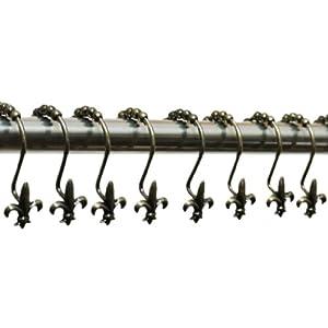 Nava 12pcs antique bronze french fleur de lis shower bath curtain rings hooks anti - Fleur de lis shower curtain hooks ...