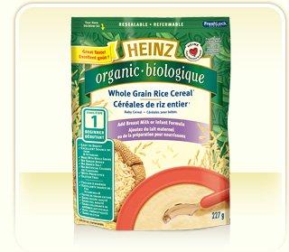 Heinz Organic Stange 1 Whole Grain Rice Cereal Add Breast Milk Or