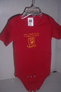 When I think of you it makes my heart HAPPY Body Suit, Red Short Sleeve