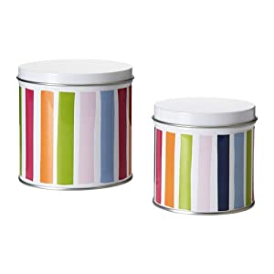 ikea set 2 steel striped containers w lids