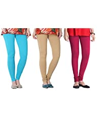 2Day Women's Cotton Turk/Beige/Fusia Churidaar Legging (Pack Of 3)