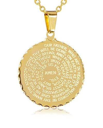 Piatella Lord's Prayer Circle Pendant Necklace