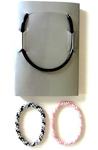 アクセサリー 静電気 軽減 除去 おしゃれ ヘアゴム セット ブレスレット としても かわいい 黒 & ピンク & ゲルマニウム ネックレス 純度99.999