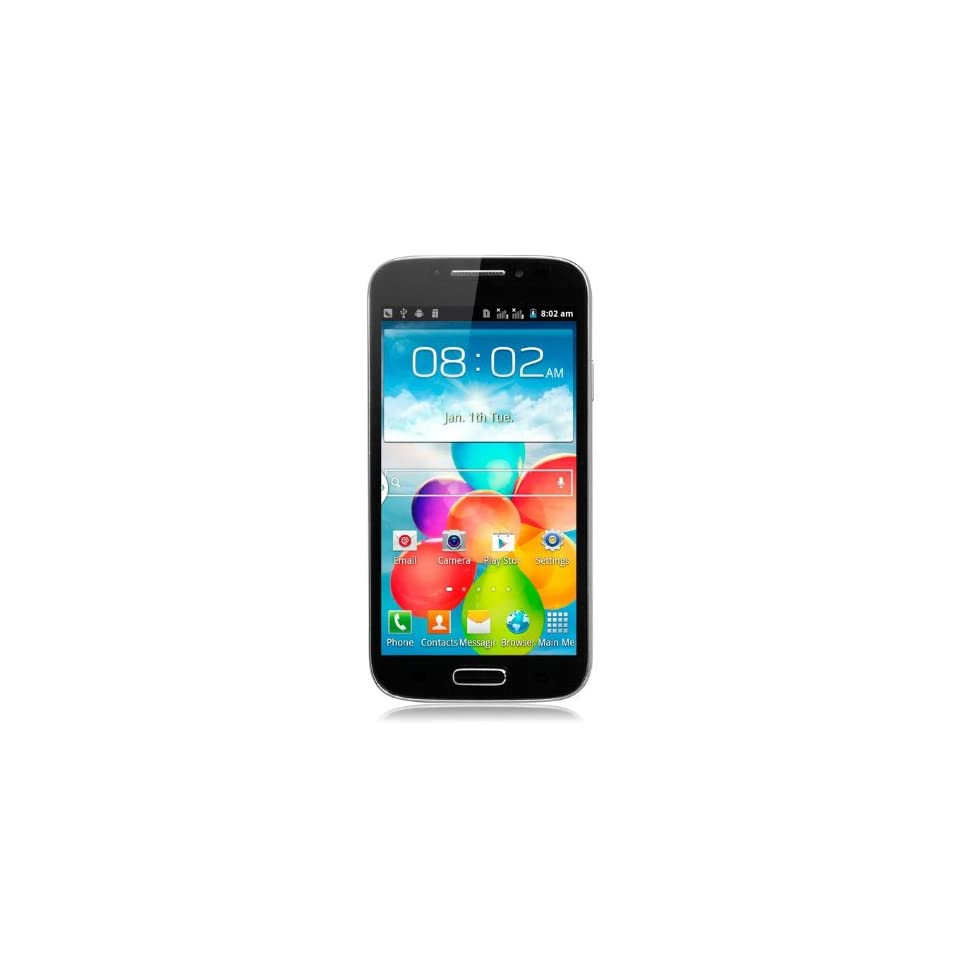 Unlocked Quadband Dual Sim Android 4.1 Os with 5 Inch Touch Screen Smart Phone   At&t, T mobile, H20, Simple Mobile and Other GSM Networks (Black) with Free case Cell Phones & Accessories