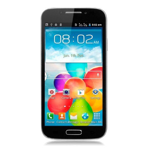 Unlocked Quadband Dual Sim Android 4.1 Os with 5 Inch Touch Screen Smart Phone – At&t, T-mobile, H20, Simple Mobile and Other GSM Networks (Black) with Free case
