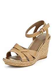Footglove&#8482; Fashion Leather Wide Fit Ankle Strap Wedge Sandals