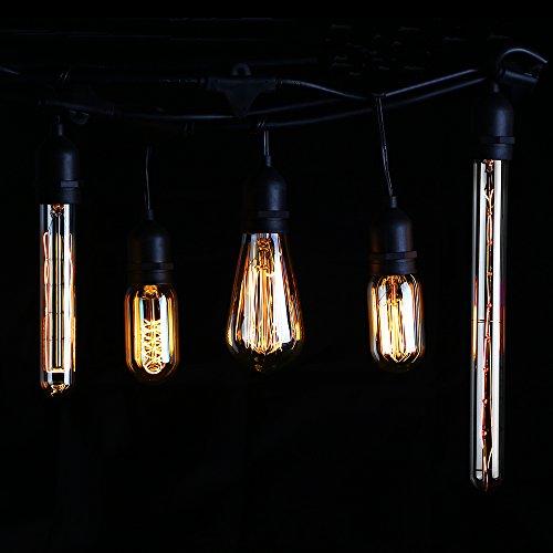 4 PACK #Long Filament# T30 (T10) Vintage Light Bulb, Flute Tungsten, Golden Tinted Glass, 300mm, 2500K Sunrise White, E26 Base for Pendant, Chandelier, Lantern, Wall Scone lighting 5