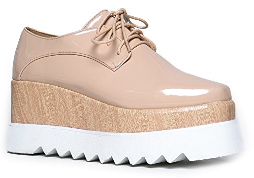 Chunky Platform Oxford - Women's Comfortable Flatform Walking Shoe faux Leather boots - Square Toe Lace Up Creeper Sneaker - Tylor by J. Adams (Wood Platform Shoes compare prices)