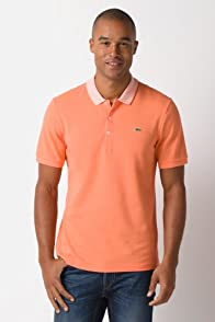 Short Sleeve Pique Polo with Stripe Rib Detail