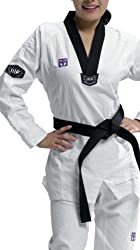 Mooto TaeKwonDo 3F Woman's Uniform Fashion Slim Fit TKD DoBok Black V-Neck Korea WTF 0 to 6 from Culture Maker