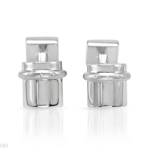 Sterling Silver 0.03 CTW Color G-H SI2-SI3 Diamond Men's Cuff Links. Length 12 mm. Total Item weight 22.8 g.