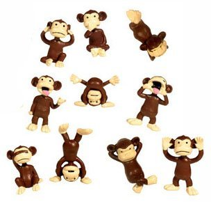 Monkey Figures - 10 Tiny Plastic Monkey Figures - Party Favors - 1