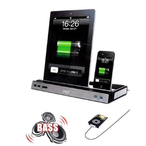 docking station charger speaker stand with dual charger adapter for ipad 2 3 new and iphone. Black Bedroom Furniture Sets. Home Design Ideas