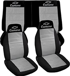 Black and silver, 2001 Chevrolet Camaro car seat covers. Front and back seat covers