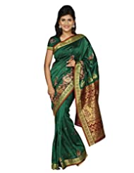 Paaneri Royal Green Art Silk Resham Work Saree-14103016103
