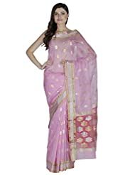 Baby Pink Cotton Silk Pure Chanderi Handwoven Saree With Zari Work