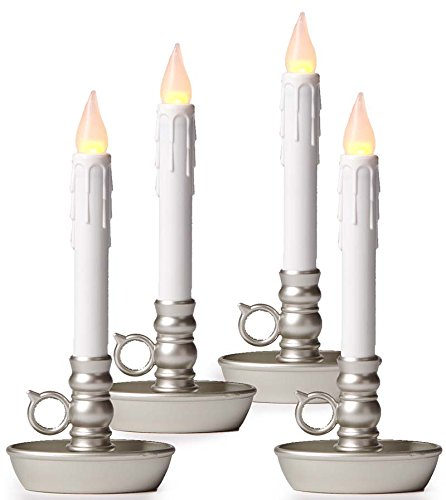 Battery-Operated Single Window Led Window Candles, 4-Pack, In Pewter.