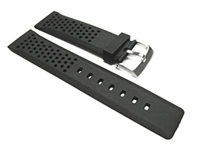 22mm Soft Rubber Diver Watch Strap for Tag Heuer Black 15r