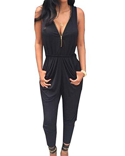 Moollyfox Donne Overall Tuta Intera Vestito Nera Zipper Tutine Eleganti Donna Larghi Abbigliamento Vestiti Alla Moda Nero Xl