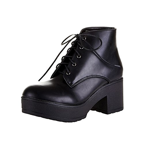 Black Chunky heel and platform plain lace up ankle boots