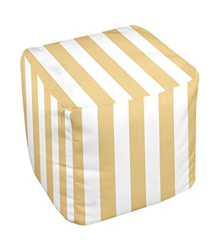 E by design Stripe Pouf, 13-Inch, Yellow