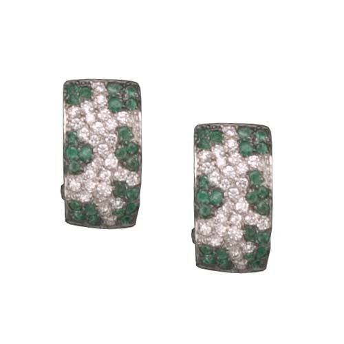 C.Z. AND EMERALD RHODIUM PLATED (.925) STERLING SILVER EARRINGS (Nice Holiday Gift, Special Black Firday Sale)